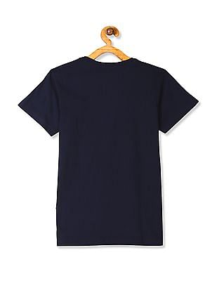 FM Boys Blue Boys Crew Neck Printed T-Shirt