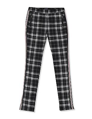 The Children's Place Black Girls Side Stripe Print Zip Ponte Knit Pull On Jeggings