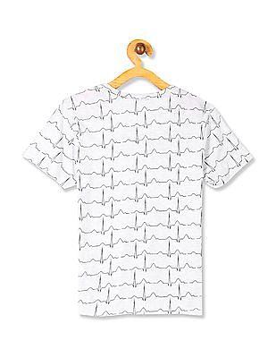 Cherokee Grey Boys Raw Hem Printed T-Shirt