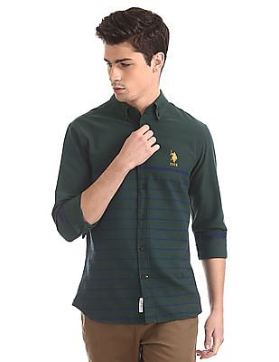 U.S. Polo Assn. Green Button Down Collar Chest Stripe Shirt