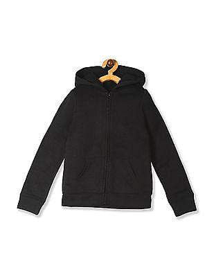 The Children's Place Girls Black Hooded Sherpa Sweatshirt