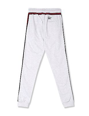 FM Boys Grey Boys Contrast Taping Heathered Joggers