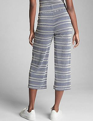 GAP Ribbed Stripe Crop Wide-Leg Pants