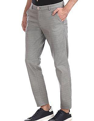Ruggers Grey Modern Slim Fit Printed Trousers