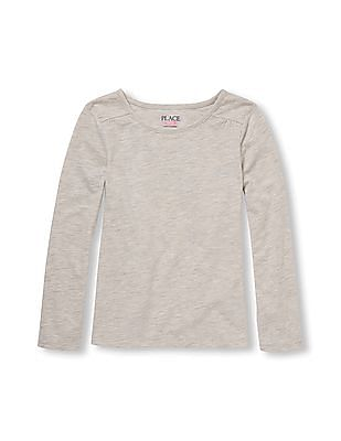 The Children's Place Girls Grey Long Sleeve Solid Layering Top