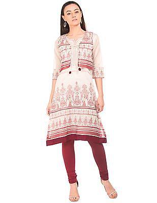 Anahi Printed Kurta With Waistcoat