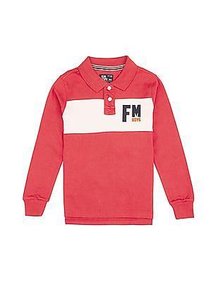 FM Boys Boys Contrast Panel Long Sleeve Polo Shirt