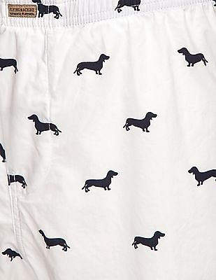 Flying Machine Dachshund Print Cotton Boxer Shorts
