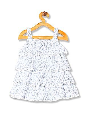 Donuts Girls Floral Print Tiered A-Line Dress