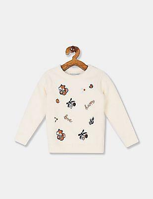 Cherokee Girls White Crew Neck Textured Sweater