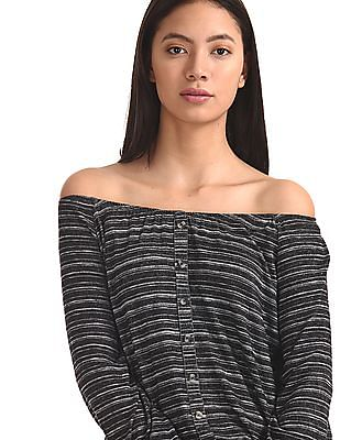 Cherokee Grey Striped Off Shoulder Top