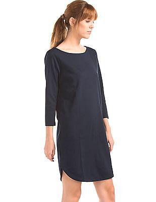 GAP Women Blue Boat Neck Shift Dress
