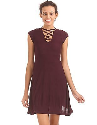 Aeropostale Lace Up Fit And Flare Dress