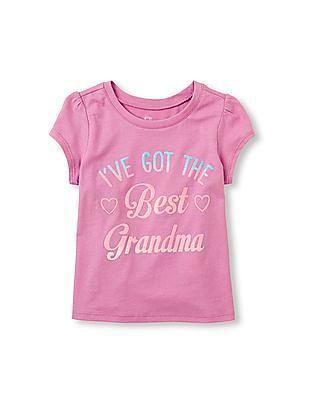 The Children's Place Toddler Girl Purple Short Sleeve 'I've Got The Best Grandma' Graphic Tee