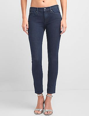 GAP Women Blue Mid Rise True Skinny Jeans In Super Slimming