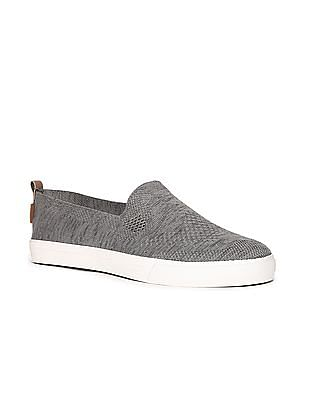 U.S. Polo Assn. Grey Low Top Perforated Slip On Shoes