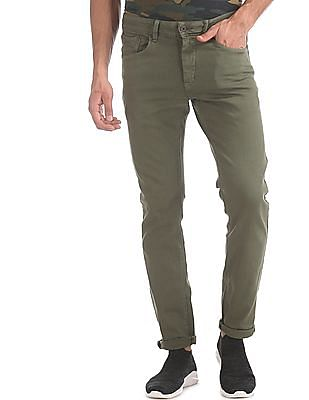 Flying Machine Green Michael Slim Tapered Fit Mid Rise Jeans