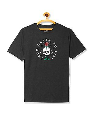 Colt Grey Round Neck Printed T-Shirt