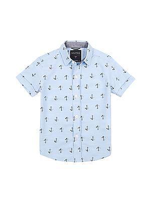 Nautica Kids Short Sleeve Woven Capitola Anchor Print Shirt