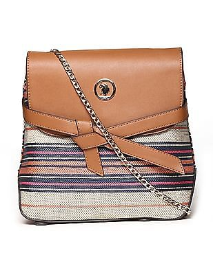 U.S. Polo Assn. Women Linked Chain Patterned Sling Bag