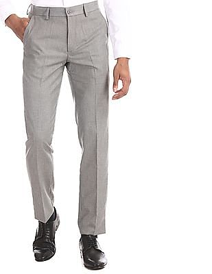 Excalibur Grey Slim Fit Patterned Weave Trousers