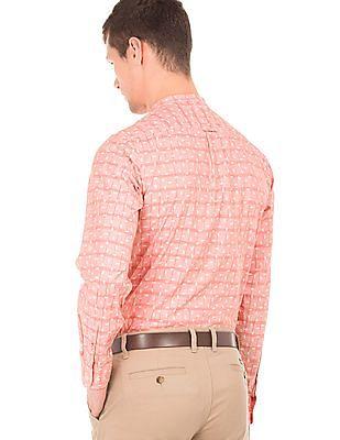 Arrow Sports Mandarin Collar Printed Shirt