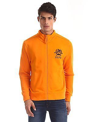U.S. Polo Assn. Orange High Neck Zip Up Sweatshirt