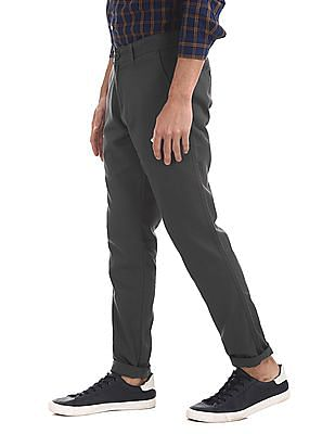 Ruggers Grey Flat Front Solid Trousers