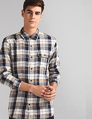 GAP Multi Colour Long Sleeve Plaid Standard Fit Shirt