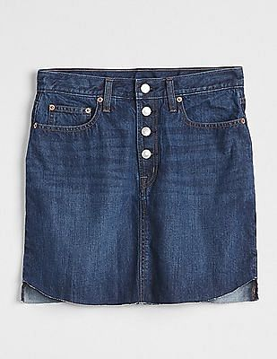 GAP Five Pocket Dark Washed Excelsior Mini Skirt