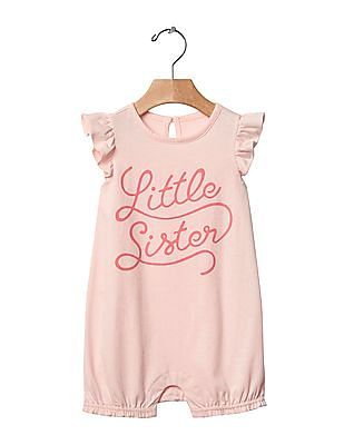 GAP Baby Pink Family Graphic Bubble One Piece