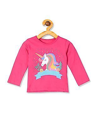 Donuts Girls Long Sleeve Unicorn Graphic T-Shirt