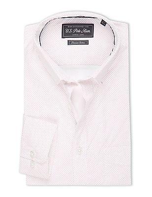USPA Tailored Dot Print Slim Fit Shirt