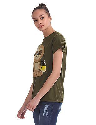 Flying Machine Women Round Neck Graphic T-Shirt
