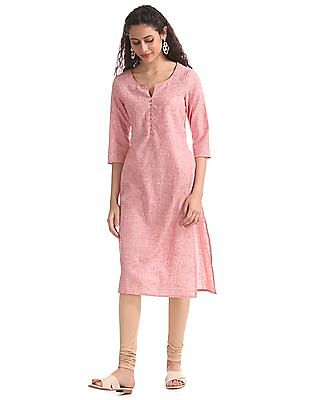 Karigari Red Notch Neck Patterned Weave Kurta