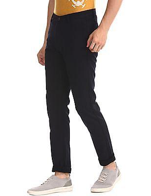 U.S. Polo Assn. Blue Austin Trim Regular Fit Flat Front Trousers