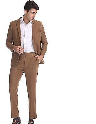Arrow Newyork Brown Zero Calorie Slim Fit Solid Suit