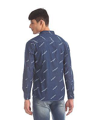 Flying Machine Blue Printed Denim Shirt