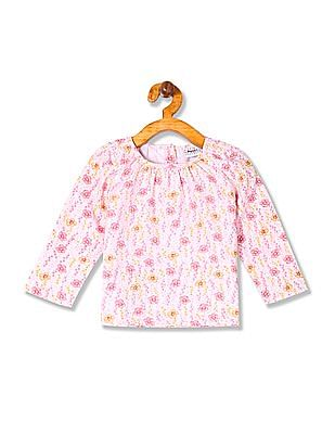 Donuts Girls Floral Print Long Sleeve Top