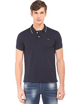 Flying Machine Solid Jersey Polo Shirt
