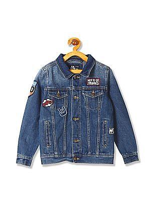 FM Boys Boys Slim Fit Washed Denim Jacket