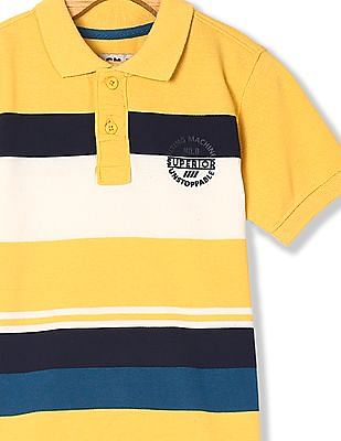 FM Boys Yellow Boys Striped Pique Polo Shirt
