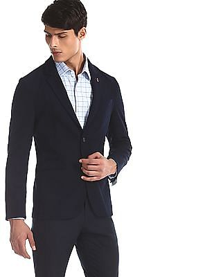 Arrow Newyork Blue Zero Calorie Slim Fit Textured Blazer