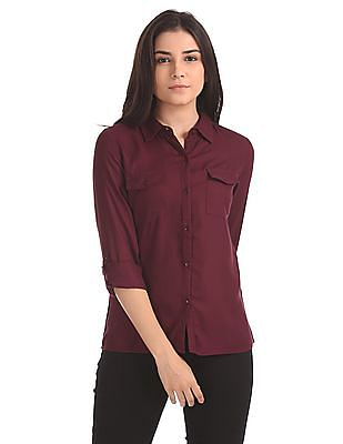 Flying Machine Women Spread Collar Patterned Shirt