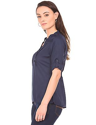 Cherokee Mandarin Collar Tucked Yoke Top