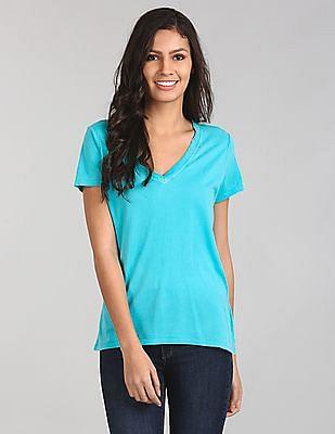 GAP Women Green Short Sleeve V-Neck T-Shirt In Vintage Wash