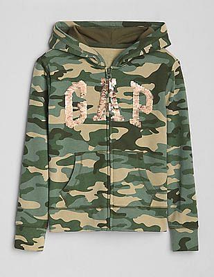 GAP Girls Camo Flippy Sequin Logo Hoodie Sweatshirt