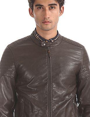 U.S. Polo Assn. Denim Co. Brown Quilted Panel Biker Jacket