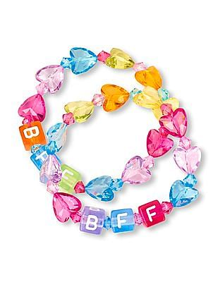 The Children's Place Girls Assorted BFF Heart Bead Bracelet - Pack Of 2