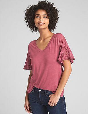 GAP Crochet Lace Flutter Sleeve T-Shirt